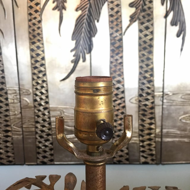 Hollywood Regency Gilded Palm Lamp With Crystals For Sale In Richmond - Image 6 of 11