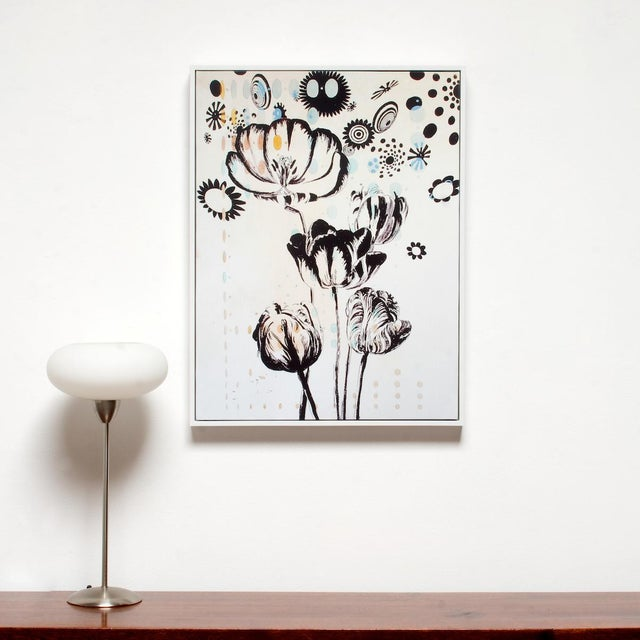 """Tulipiere 220 fine art giclée on canvas is beautifully framed in fresh white 31.5"""" High x 24"""" Wide x 2""""D moulding. Enliven..."""