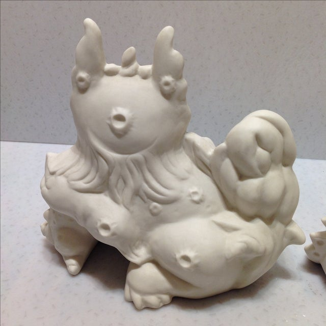 1960s White Porcelain Foo Dogs - A Pair For Sale - Image 9 of 11