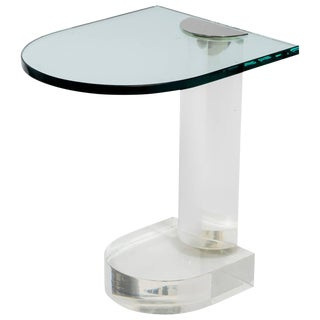 1970s Pace Lucite and Glass Side Table For Sale