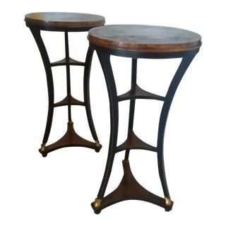 Gorgeous Baker Furniture Burled Wood-Top Plant Stands - a Pair For Sale