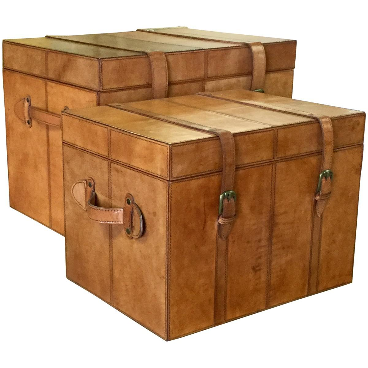 Traditional Brown Leather Storage Trunk Boxes   A Pair For Sale   Image 3  Of 6