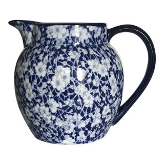 Blue and White Floral Water Pitcher