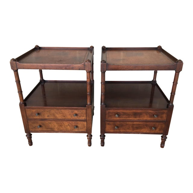 Baker Furniture Leather Top Mahogany 2 Drawer End Tables - a Pair - Image 1 of 11