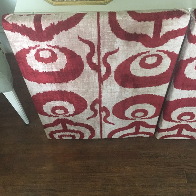 Red Silk Velvet Ikat Ottoman Fabric Wall Art Hangings - A Pair For Sale - Image 8 of 11