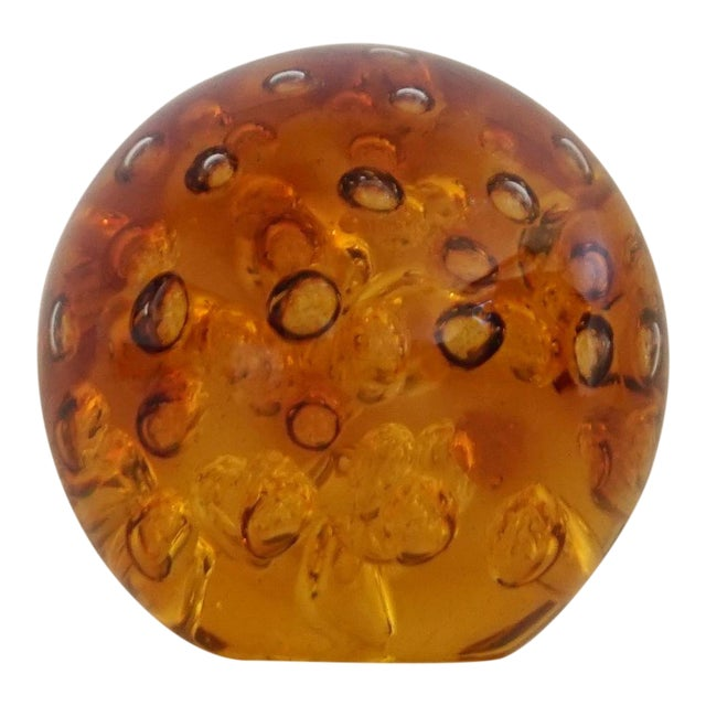 Amber Controlled Bubble Glass Orb - Image 1 of 5