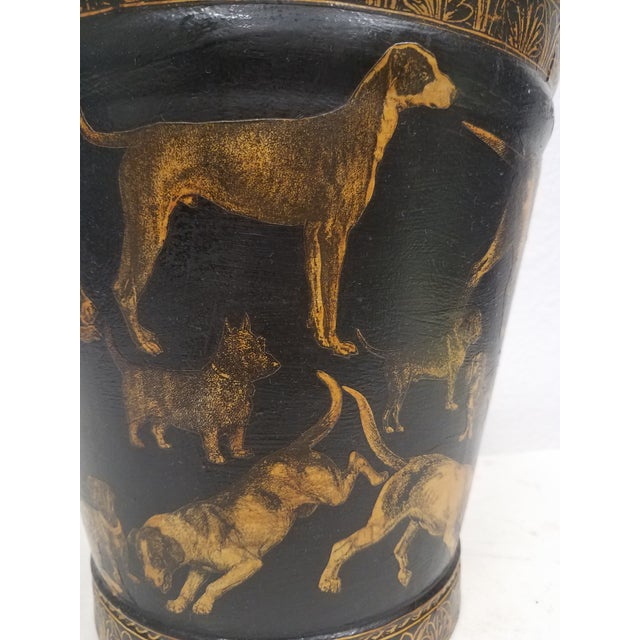 Black English Antique Bucket / Pail With Decoupage Dogs - Found in Southern England For Sale - Image 8 of 13