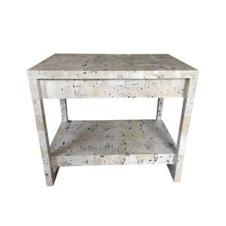 Custom Wallpapered Glass Top Side Table For Sale