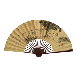 """Vintage 72"""" Large Chinese Hand Painted Fan Wall Decoration For Sale"""