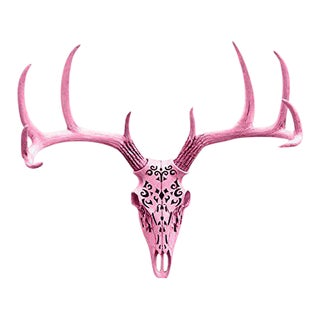 Wall Charmers Pink Faux Taxidermy Antlers Skull Mount