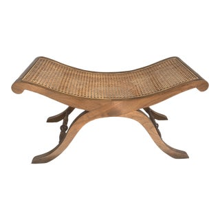 Shaped Scroll Wood and Cane X Bench For Sale