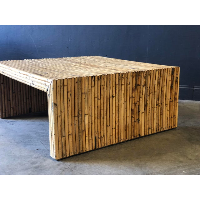AWESOME vintage bamboo coffee table, heavy and well made, great age and patina to wood! Square parson style sides.