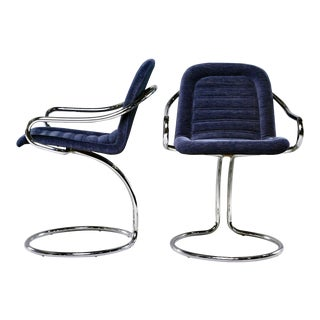 Navy Mid Century Chenille Scoop Armchairs With Chrome Frames - Pair For Sale