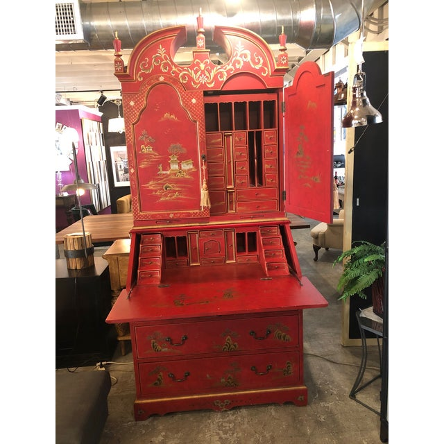 Hand painted Asian style secretary w/ hutch. Some marks and dents otherwise in fair condition.