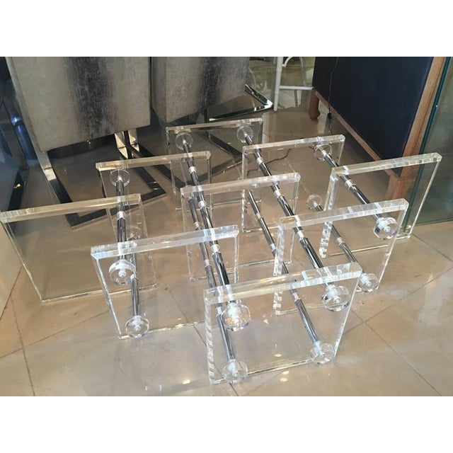 Hollywood Regency Lucite and Chrome Coffee Cocktail Table - Image 9 of 12
