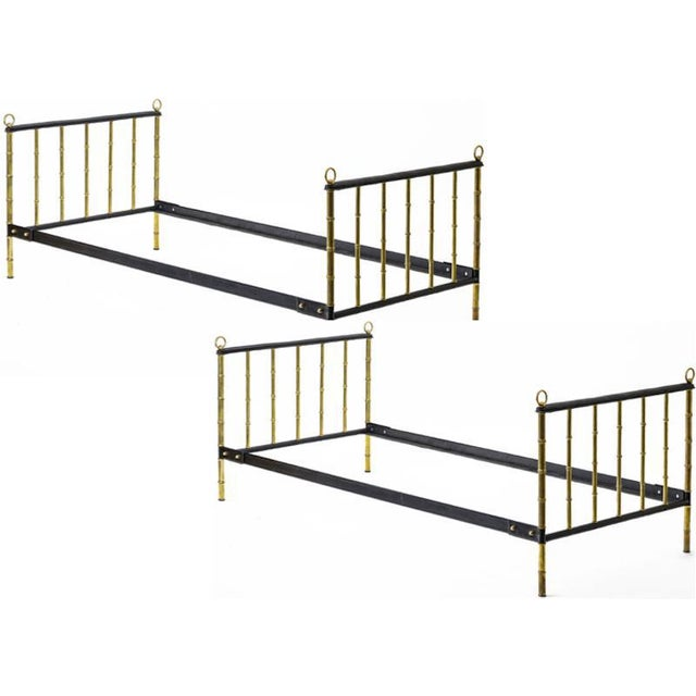 Mid-Century Modern Jacques Adnet Stunning Pair Black Hand Stitched Good Vintage Condition Day Bed For Sale - Image 3 of 6