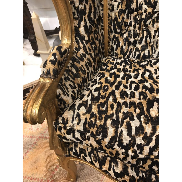18th Century Antique French Louis XV Porter Child or Pet Chair With Leopard & Rivet Upholstery For Sale - Image 9 of 13