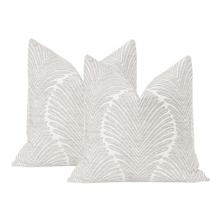 """22"""" Musgrove Chenille Dove Grey Pillows - a Pair For Sale"""
