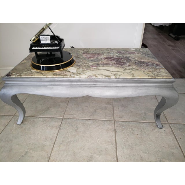 Queen Anne Burnished Silver Wood Coffee Table For Sale In Naples, FL - Image 6 of 10