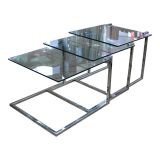 Mid Century Modern Dia Glass & Chrome Nesting Tables - Set of 3 For Sale