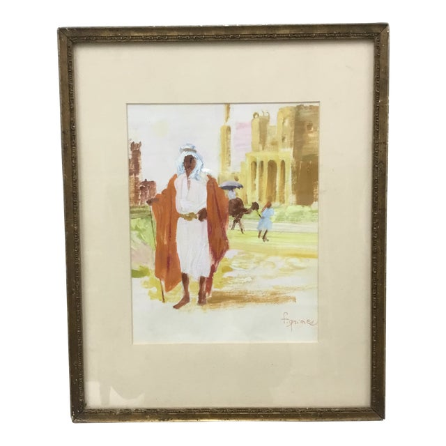 Early 20th Century Vintage Impressionism Oil Painting on Paper by F. Grimes For Sale