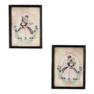 Antique Framed Embroidered Textile Wall Art For Sale