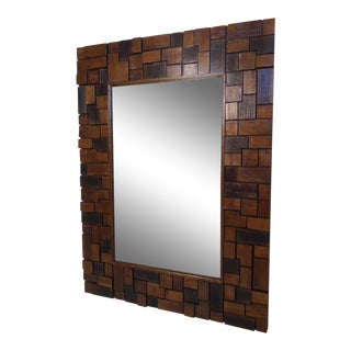 Vintage Modern Wood Slab Mirror For Sale