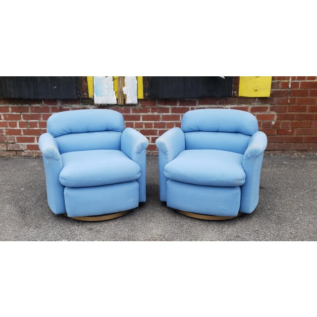 Pair Contemporary Vintage 1970s T. Coggin Style Swivel Club Armchairs For Sale - Image 10 of 10
