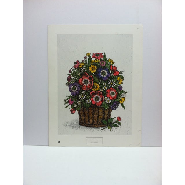 "1973 Vintage ""Basket Bouquet With Anemones"" Ida Pellei New York Graphic Society Floral Print For Sale - Image 4 of 4"