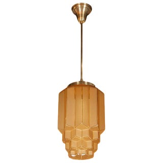 Art Deco Skyscraper Style Faceted Pendant in Frosted and Translucent Amber Glass