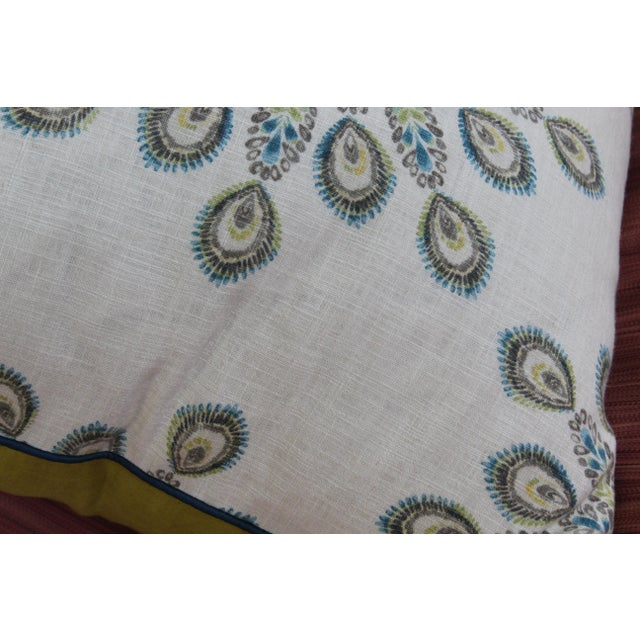 1960s Mid-Century Modern Printed Linen Down Pillows - a Pair For Sale - Image 4 of 13