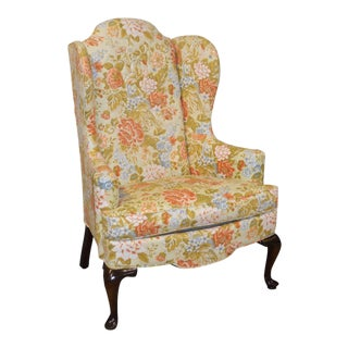 Drexel Floral Queen Anne Style Wing Chair For Sale