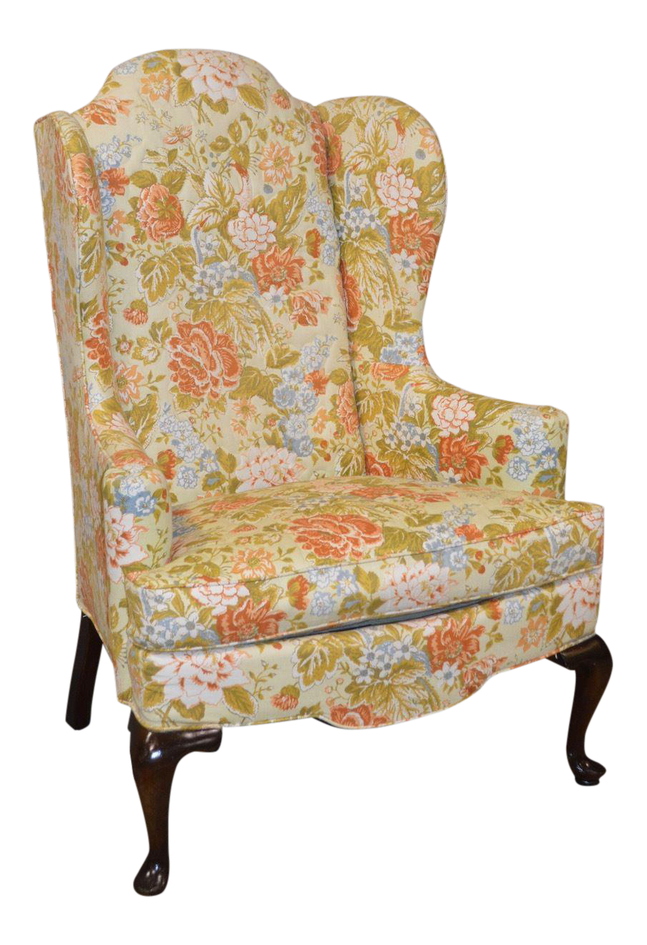 Drexel Floral Queen Anne Style Wing Chair  sc 1 st  Chairish & Drexel Floral Queen Anne Style Wing Chair | Chairish