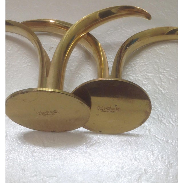 Mid-Century Ystad Metall Brass Candle Holders-Pair - Image 4 of 6
