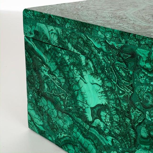 Large Modern Malachite Stone Jewelry Box For Sale - Image 10 of 13