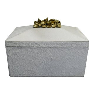 Hair-On-Hide Box With Brass Flowers For Sale