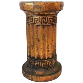 Gilt Column Pedestal Side Table With Greek Key Design For Sale