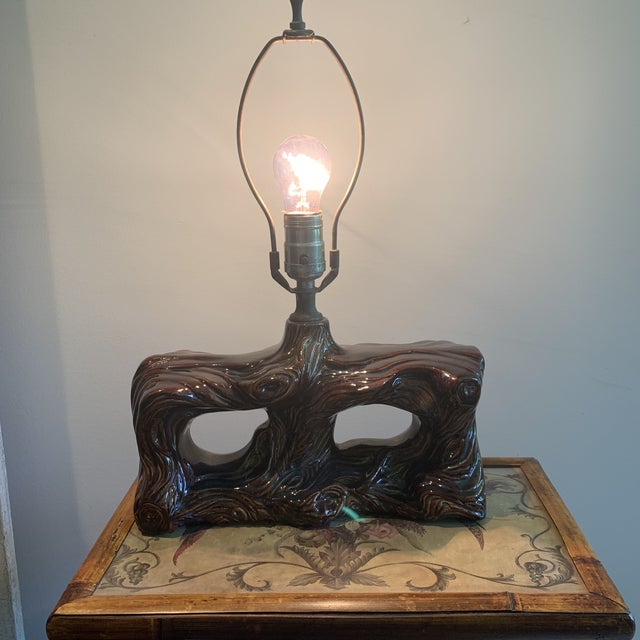 Vintage Mid-Century Faux Bois Glazed Pottery Ceramic Lamp For Sale - Image 9 of 10