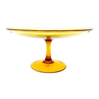 Vintage Mid Century Hand Blown Large Amber Glass Cake Stand For Sale