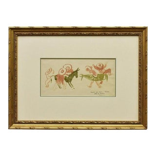 Gustav Likan Watercolor Sketch in Frame For Sale