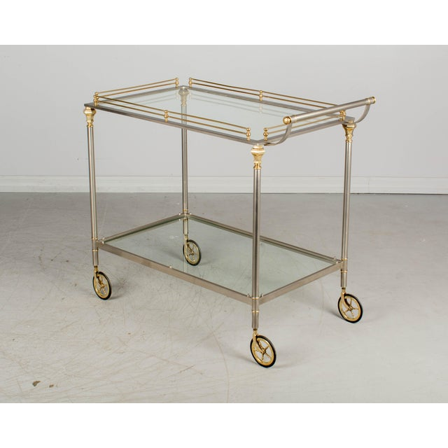Hollywood Regency 1970s Maison Jansen Style Italian Bar Cart For Sale - Image 3 of 12