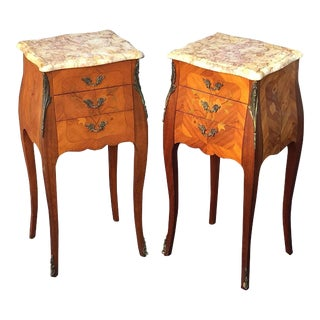 French Inlaid Nightstands or Bedside Tables - a Pair For Sale