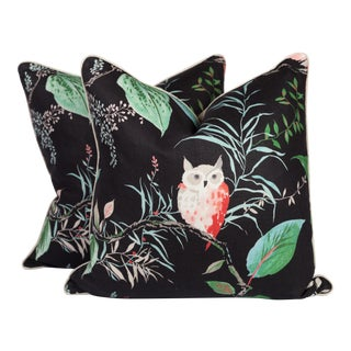 Black and Pink Linen Owl Pillows - A Pair