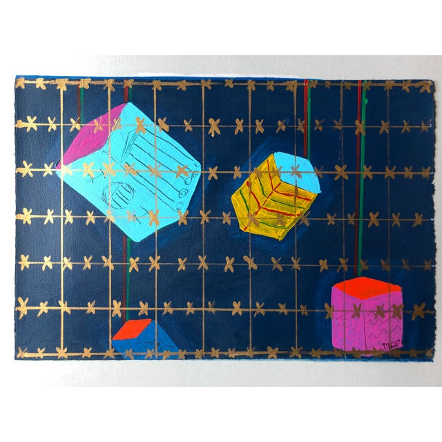 """Frances Schifflette Hicks Floating Cubes 1980s Acrylic on paper attached to mat board 22.5""""x15"""" overall 28""""x22"""" Signed..."""
