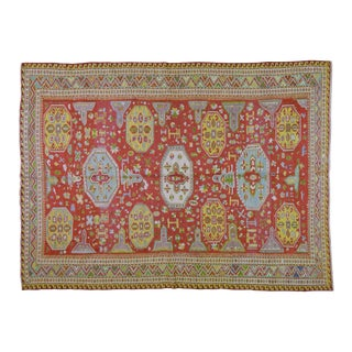 """20th Century Caucasian Red and Yellow Wool Sumak Rug - 6'6""""x8'10"""" For Sale"""