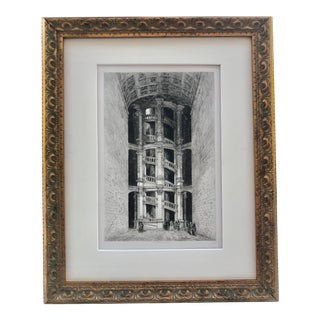 Antique 19th Century French Etching of the Grand Staircase of Chateau Chambord For Sale