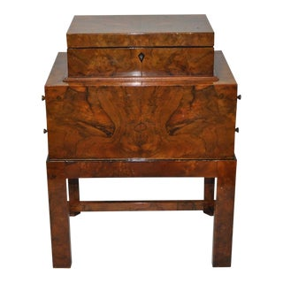 Early 20th Century Burl Walnut Jewelry Box on Stand For Sale