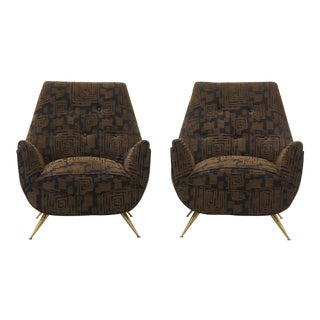 Pair of Italian Lounge Chairs in the Style of Marco Zanuso For Sale