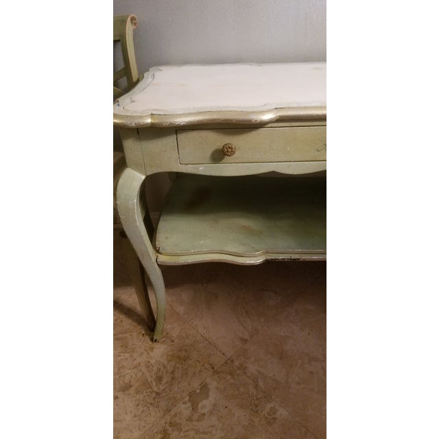 White Mablre Top 1930s Italian Painted Console or Dressing Table For Sale - Image 4 of 13
