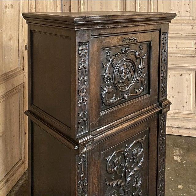 Antique Renaissance Oak Drop-Front Cabinet For Sale - Image 10 of 12